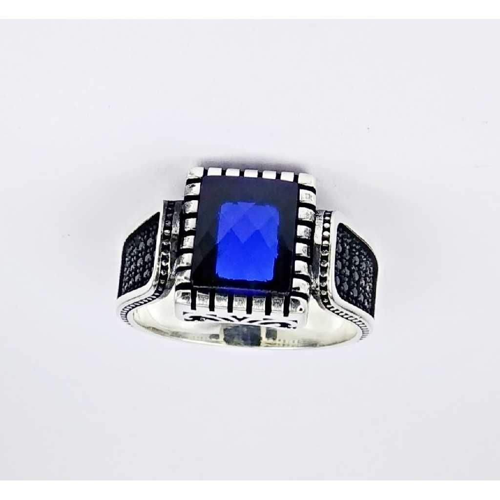 925 Sterling Silver Square Design Gents Ring