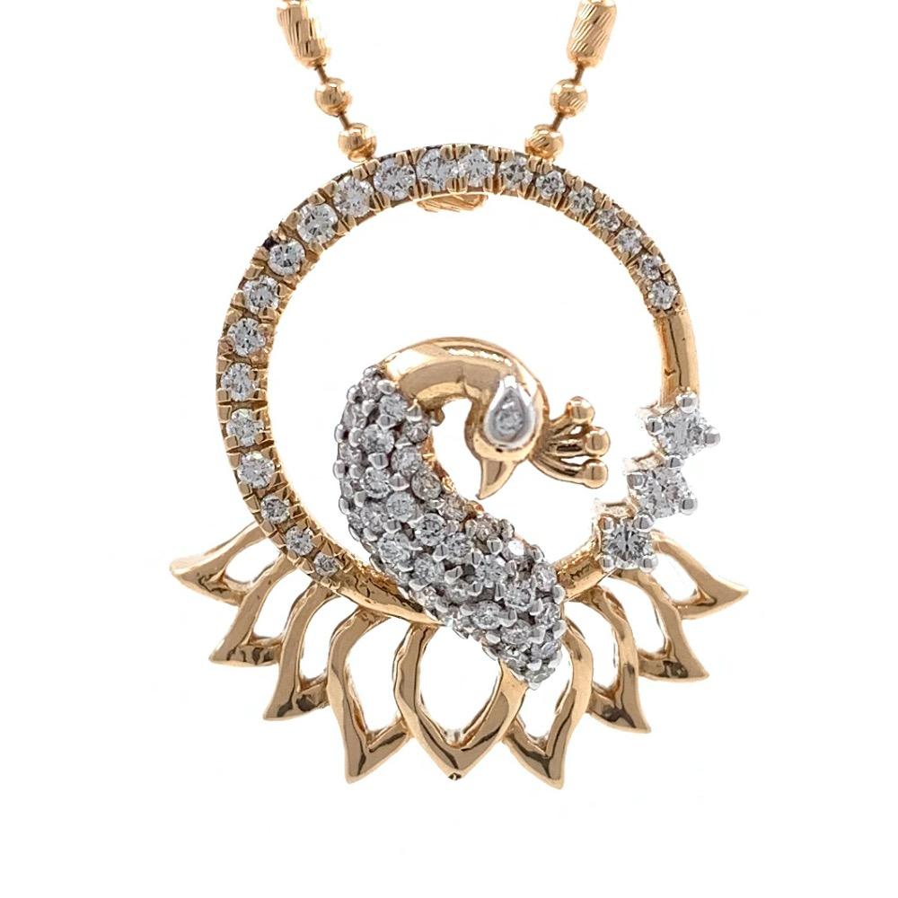 Peacock Design Diamond Pendant in 18k Rose Gold 9SHP28