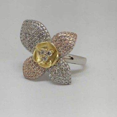 925 Sterling Silver Designer Flower Ladies Ring