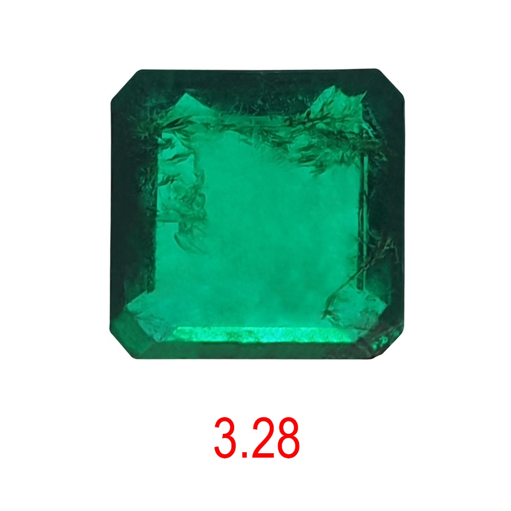 3.28ct square shape green emerald-panna