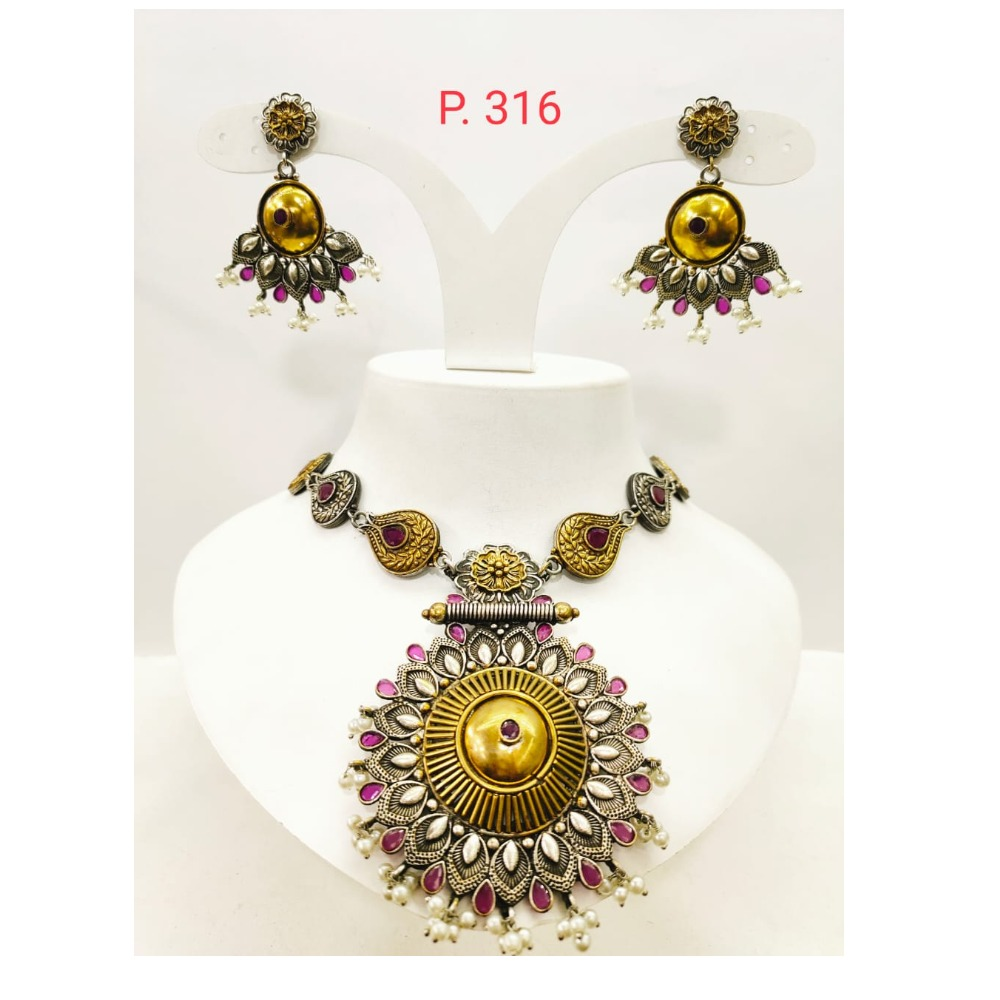 Antique oxidised silver with Gold Plated Pink stone Choker Necklace set 1669