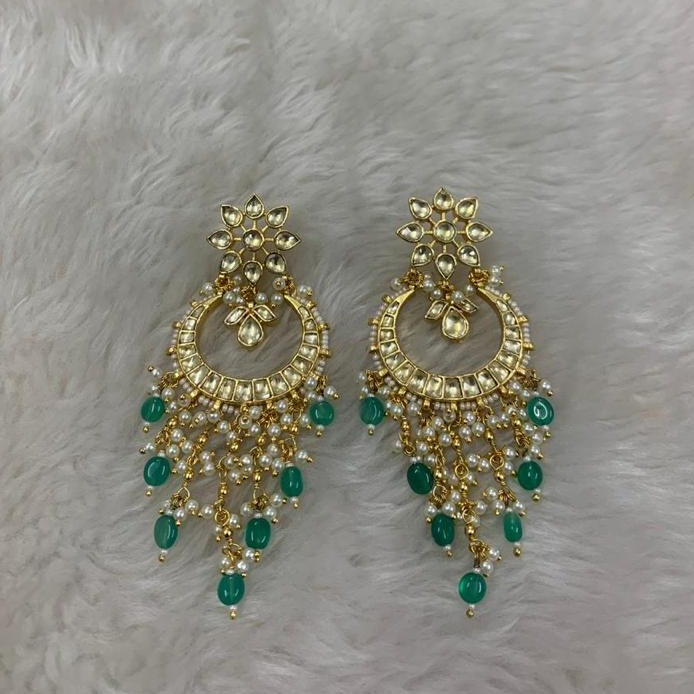Green Stone Kundan Bridal Earrings