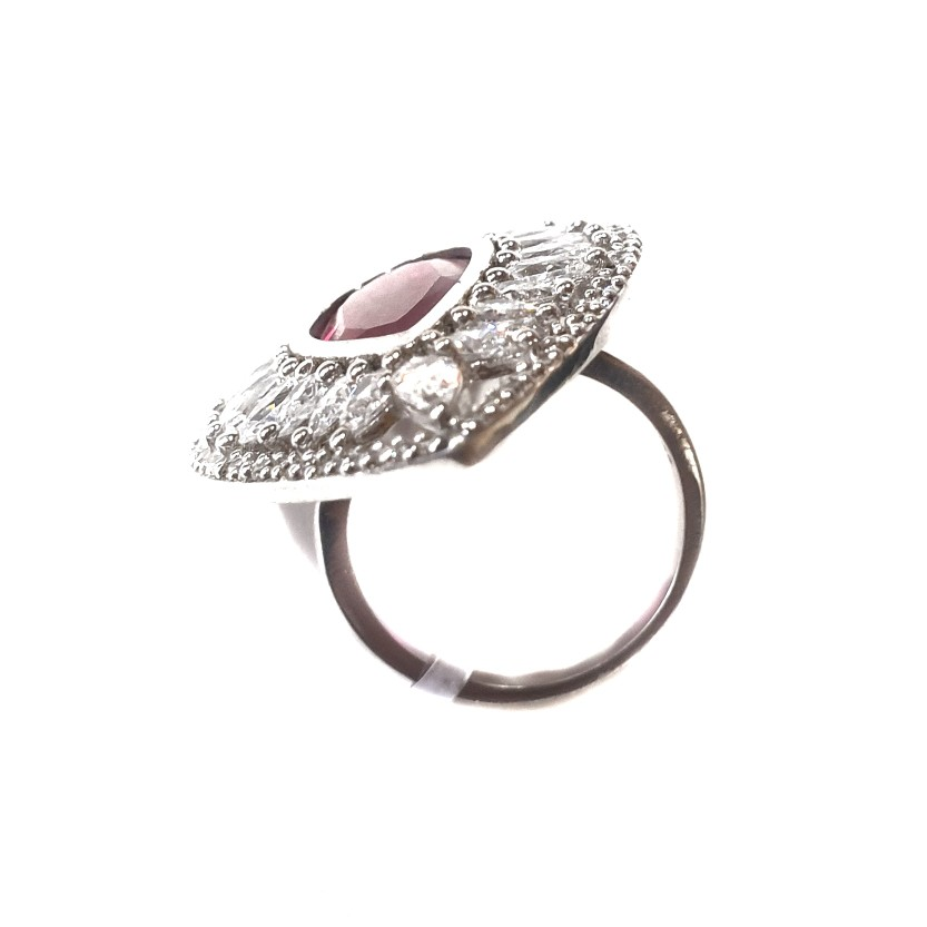 925 Sterling Silver Dark Pear Cut Pink Diamond Ring MGA - LRS0075