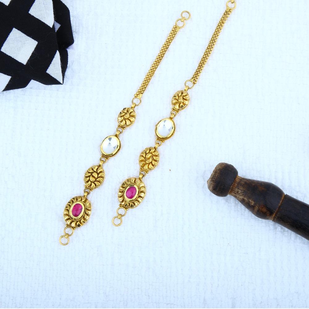 916 Gold Antique Jadtar Earchain Kanser KCG-0003