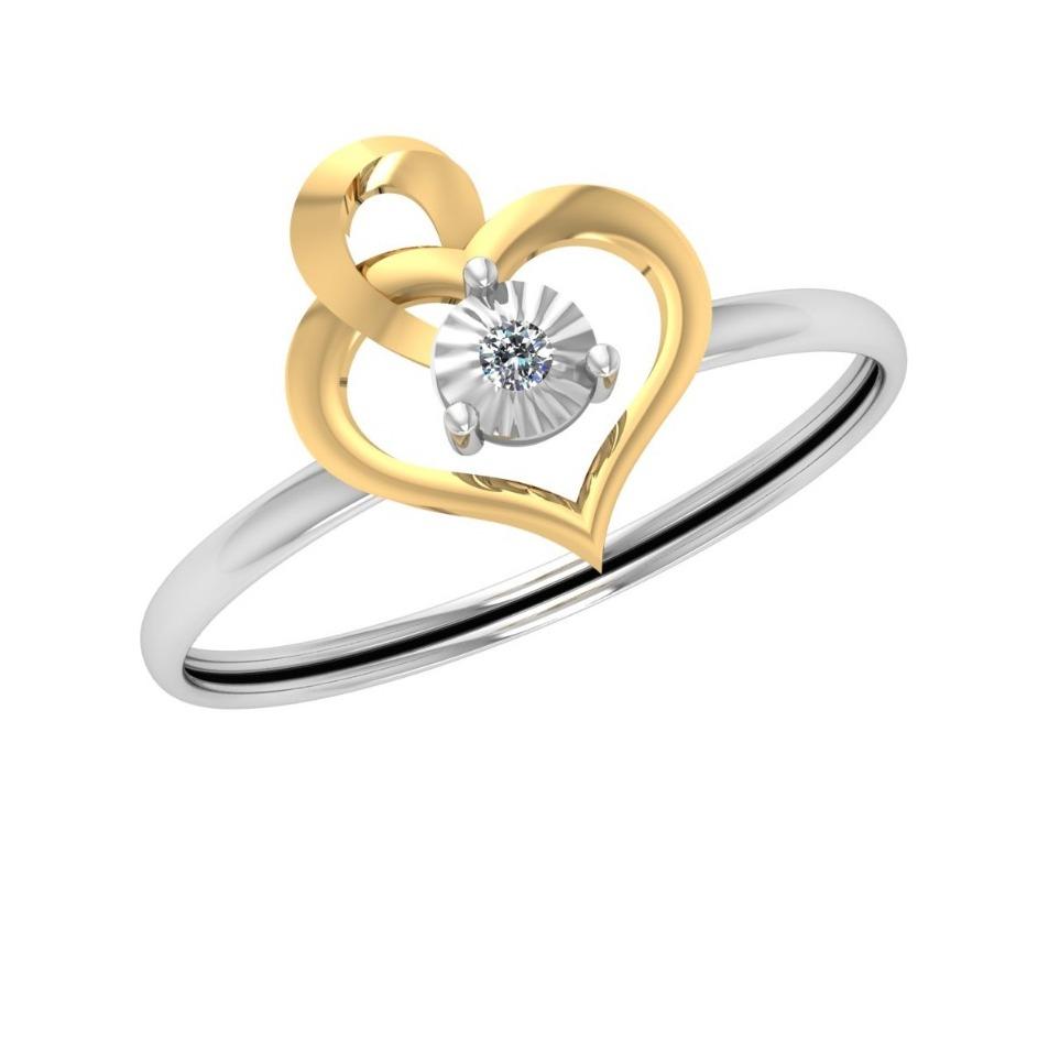 916 Gold Heart Design Diamond Ring JJ-R03