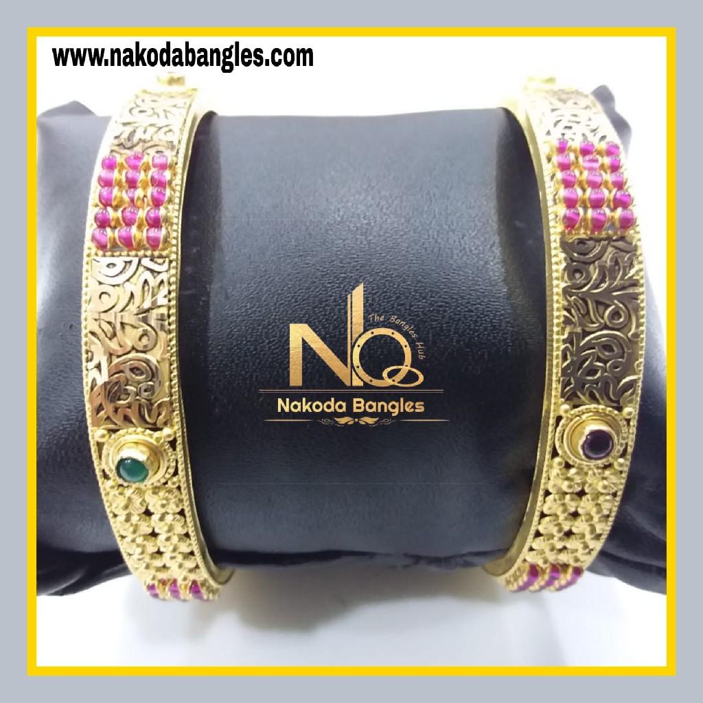 916 Gold Chakri Bangles NB - 852