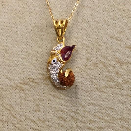 916 Gold Ganesh design Pendant Chain With Rudraksh