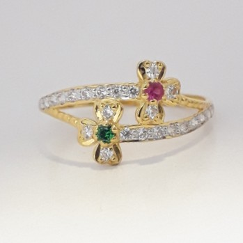 916 cz gold light weight ladies ring
