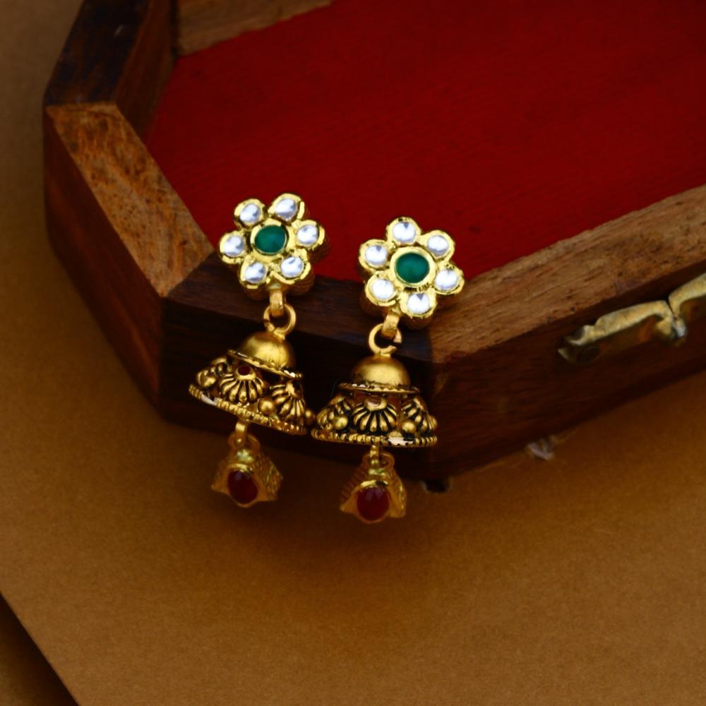 22K Gold Antique Jadtar Necklace Set