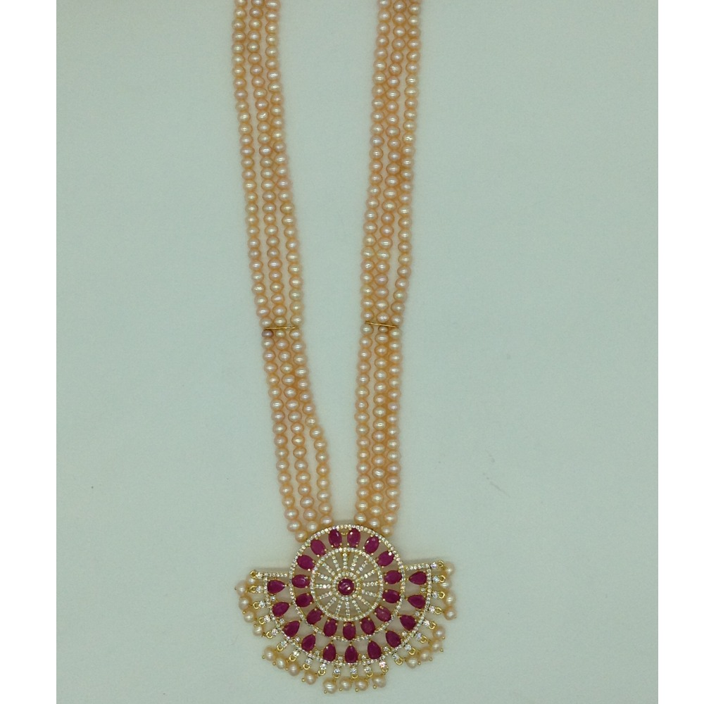 White and RedCZ PendentSet With 3Line Orange Pearls Mala JPS0662