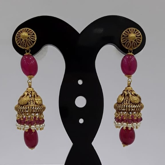 22KT Yellow Gold Hinaya  Red Pearl Earrings For Women