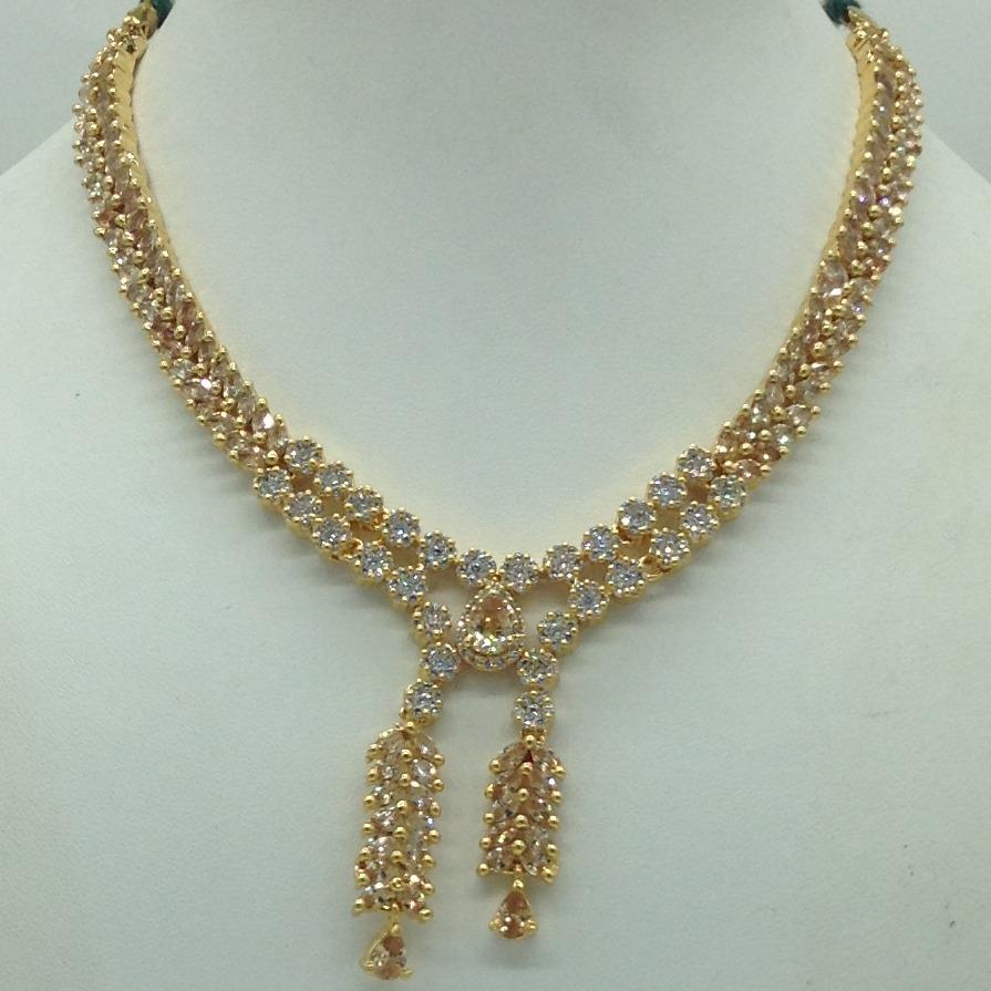 White,Champagne CZ Stones Necklace Set JNC0178