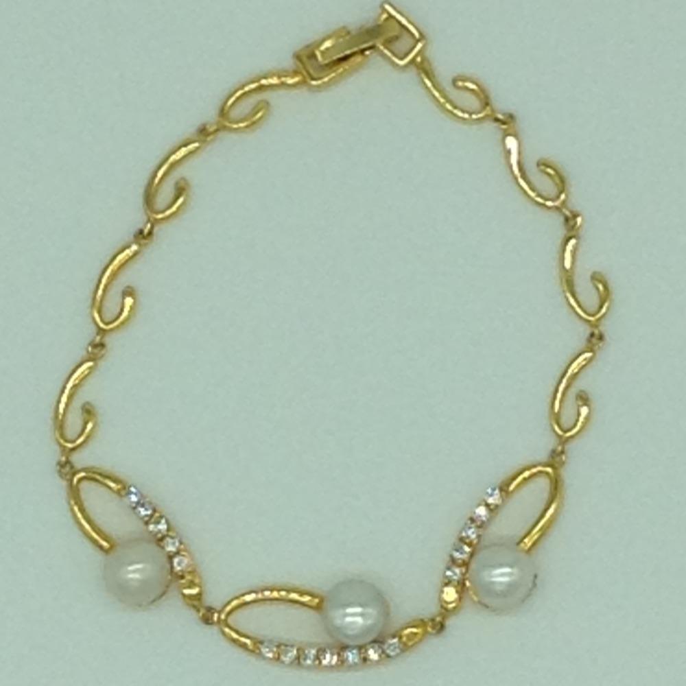 White Button Pearls And WhiteCZ Golden Alloy ChainBraceletJBG0206