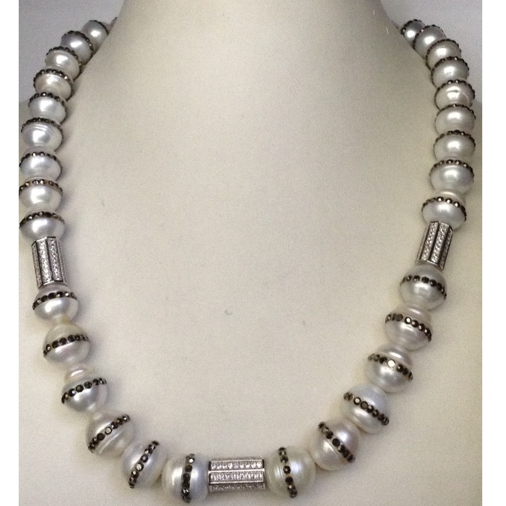 Freshwater Round Jagmag Pearls with CZ Drums Necklace