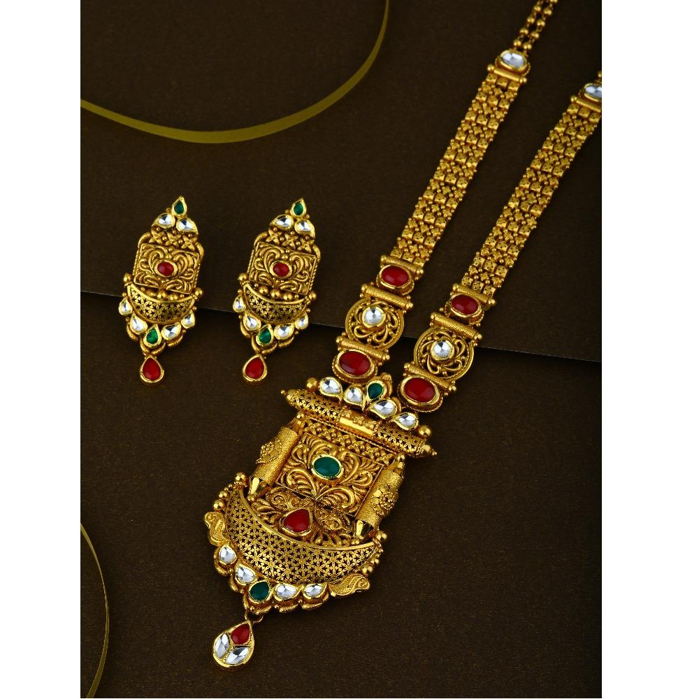 916 CZ Pure Gold Antique Long Necklace Set