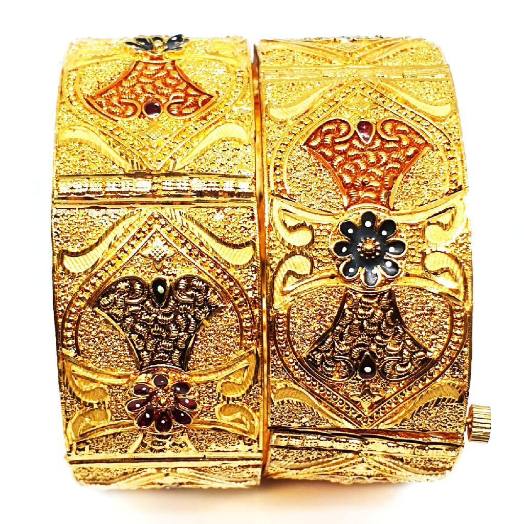 One gram gold forming kada bangles mga - bge0095