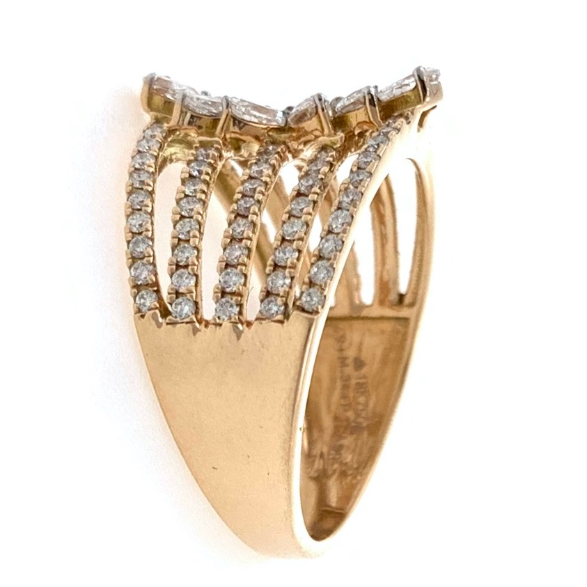 18kt / 750 rose gold floral diamond ladies ring 8lr189