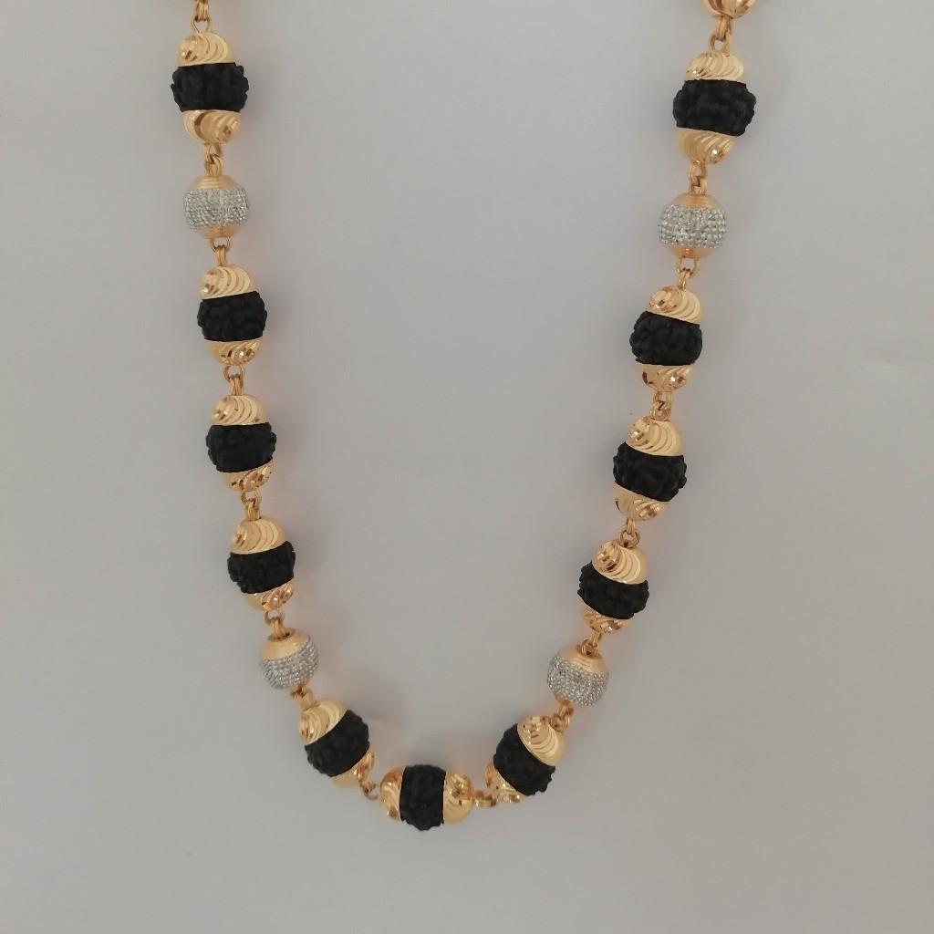 916 gold black rudraksh moti fancy kanthi mala