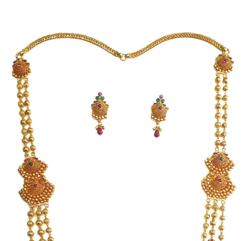 22k Gold Antique Designer Mala Necklace Set MGA - GLS041