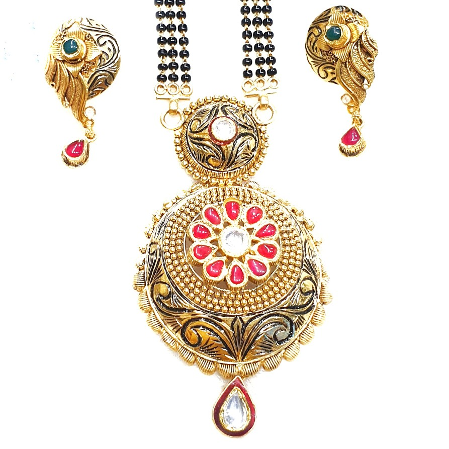 22k Gold intec Oxidised flower shape mangalsutra MGA - GM042