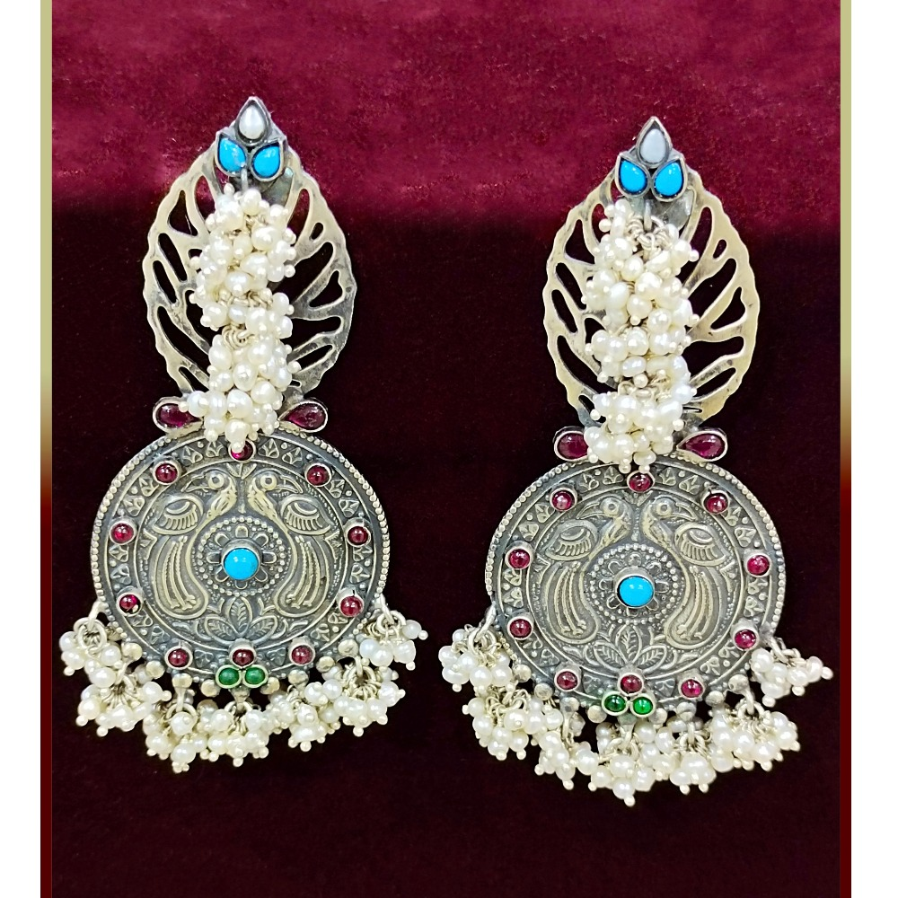 Puran peacock shield boho Jaali dangler earrings with pearly bunch