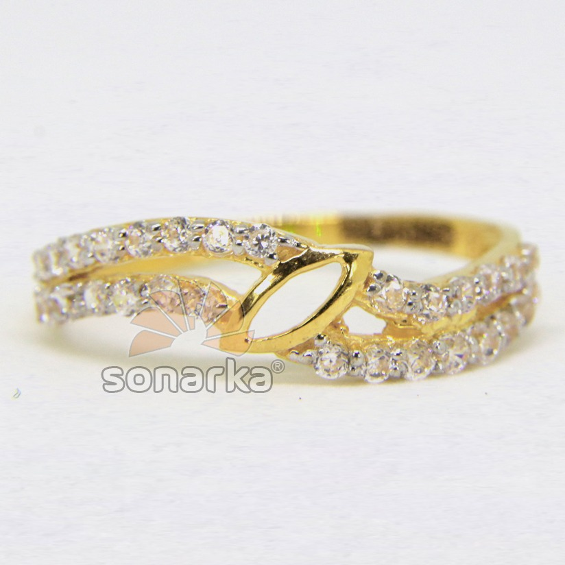 22ct 916 Gold Casting CZ Diamond Ladies Ring