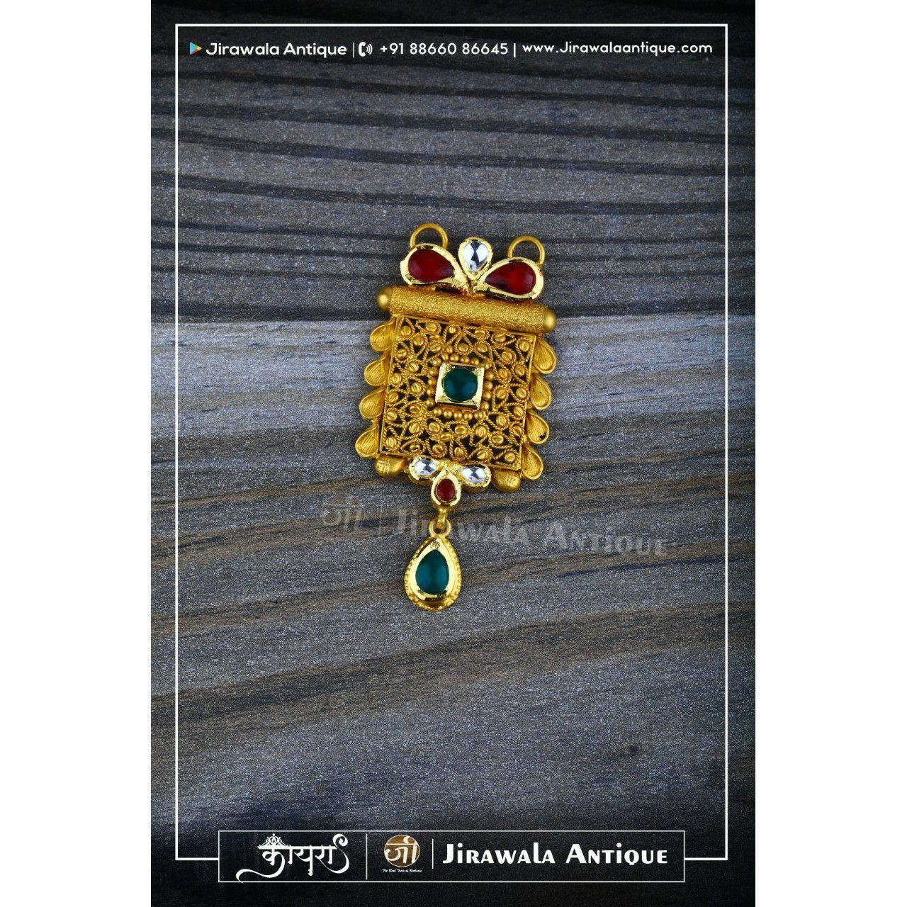 Antique Jadtar Mangalsutra Pendant with Green White Kundan Combination.