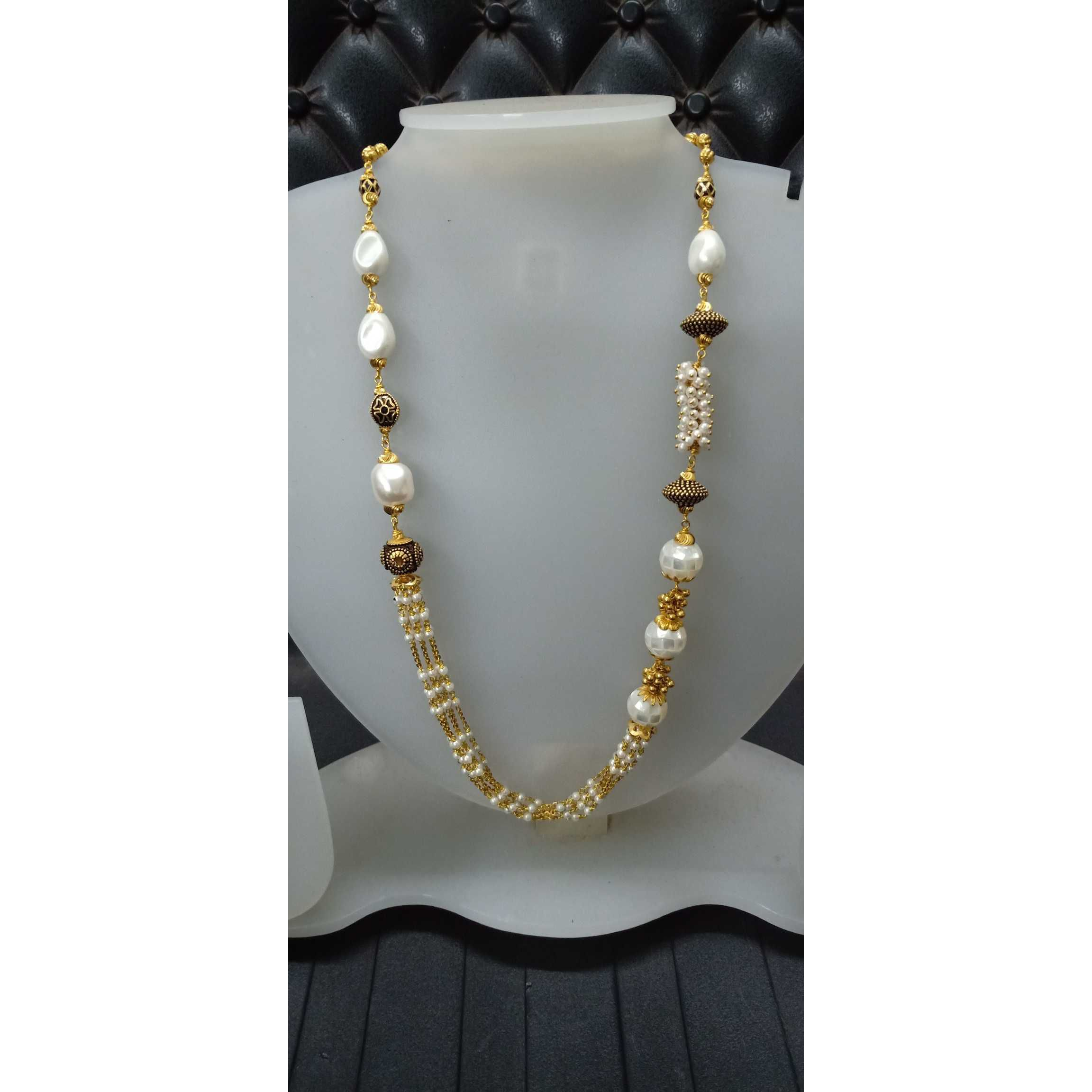 916 Gold White Beads Gorgeous Fancy Mala