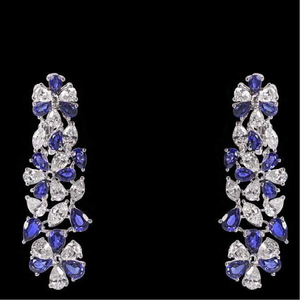Diamonds and Blue Sapphires EarringsJSJ0124