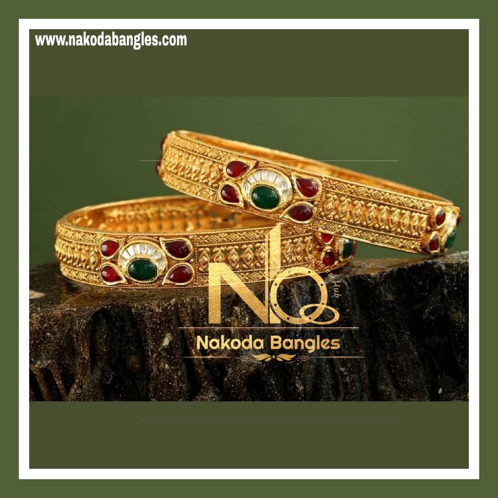 916 Gold Antique Bangles NB - 737