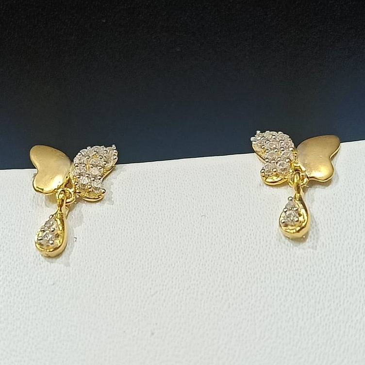 18CT Hallmark Butterfly Design Gold Earring