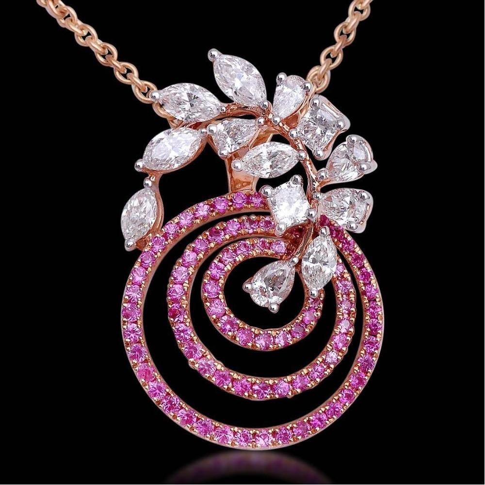 real diamond pendent with pink diamond