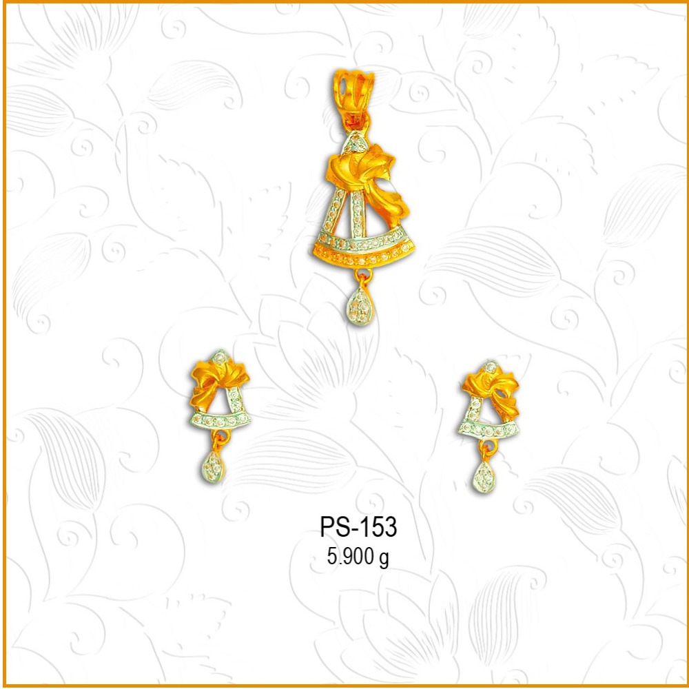 916 Gold Designer CZ Pendant Set PS-153