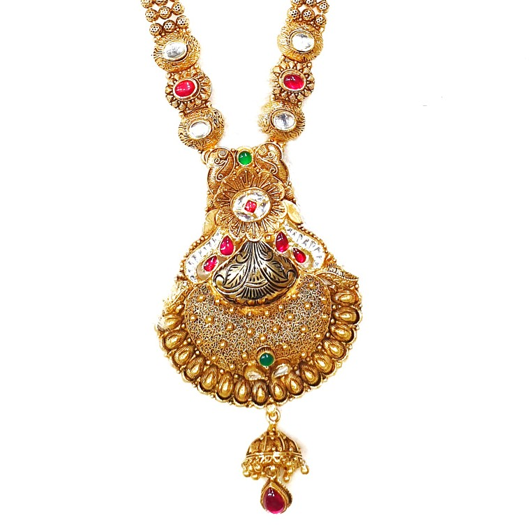 916 gold antique rajwadi necklace with earrings mga - gls074