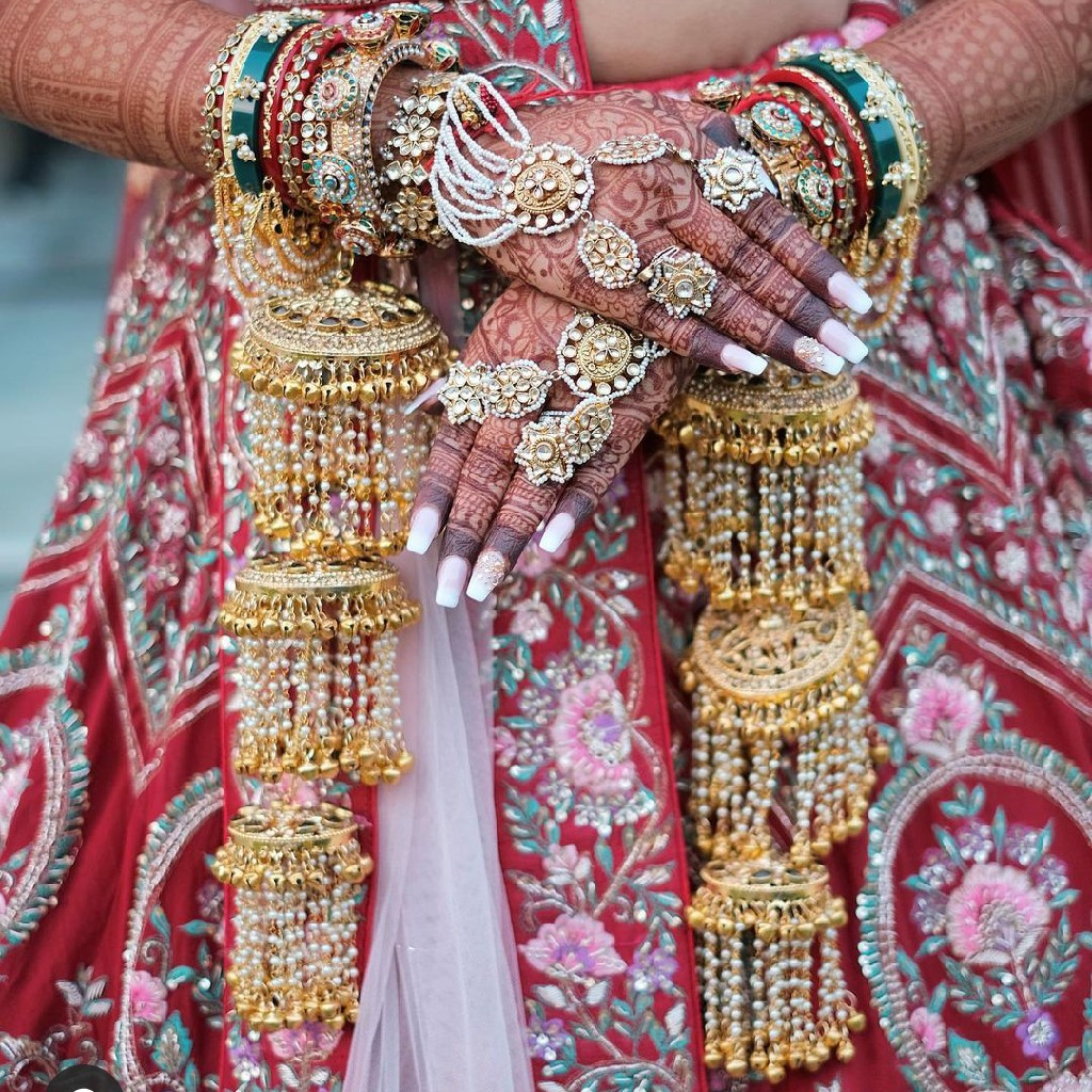 gold plated pachhi kundan hath phool