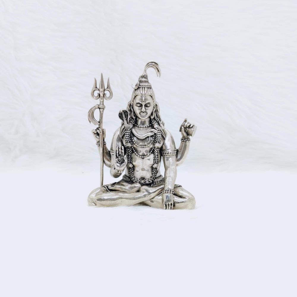PURE SILVER SHIV JI IDOL IN HIGH ANTIQUE FINISHING BY PURAN