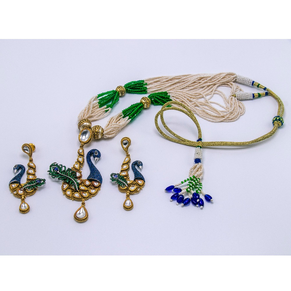 916 jadtar peacock shaped necklace set with earrings agj-ns-01