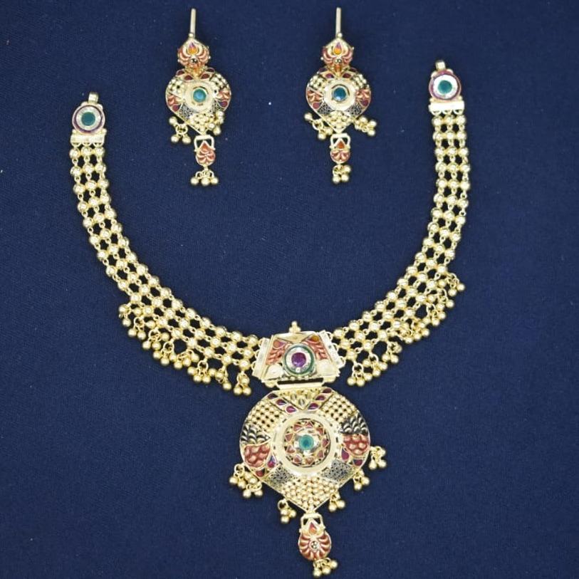 22Kt Gold Antique Necklace Set MK-N02