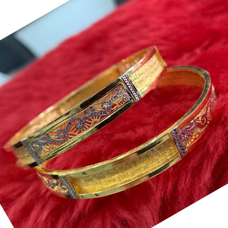 22KT/ 916 Gold Fancy Dual design Festival Cooper Kadli For Ladies
