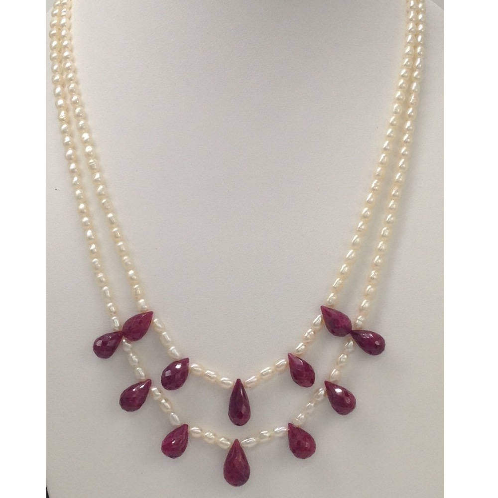 Freshwater White Rice Pearls 2 layers Necklace with Faceted Red Ruby Drops