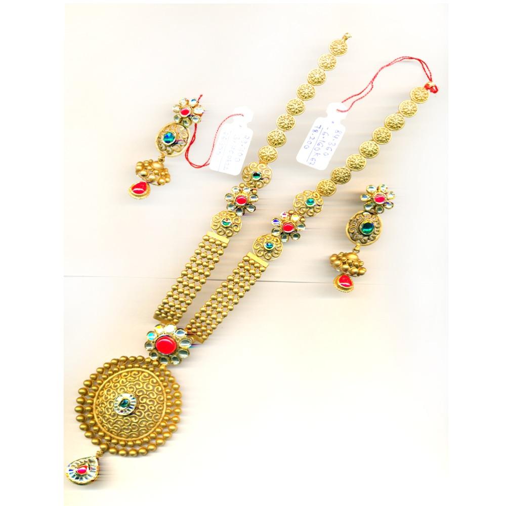 22KT Colorful Gold Long-Wedding Necklace Set-29