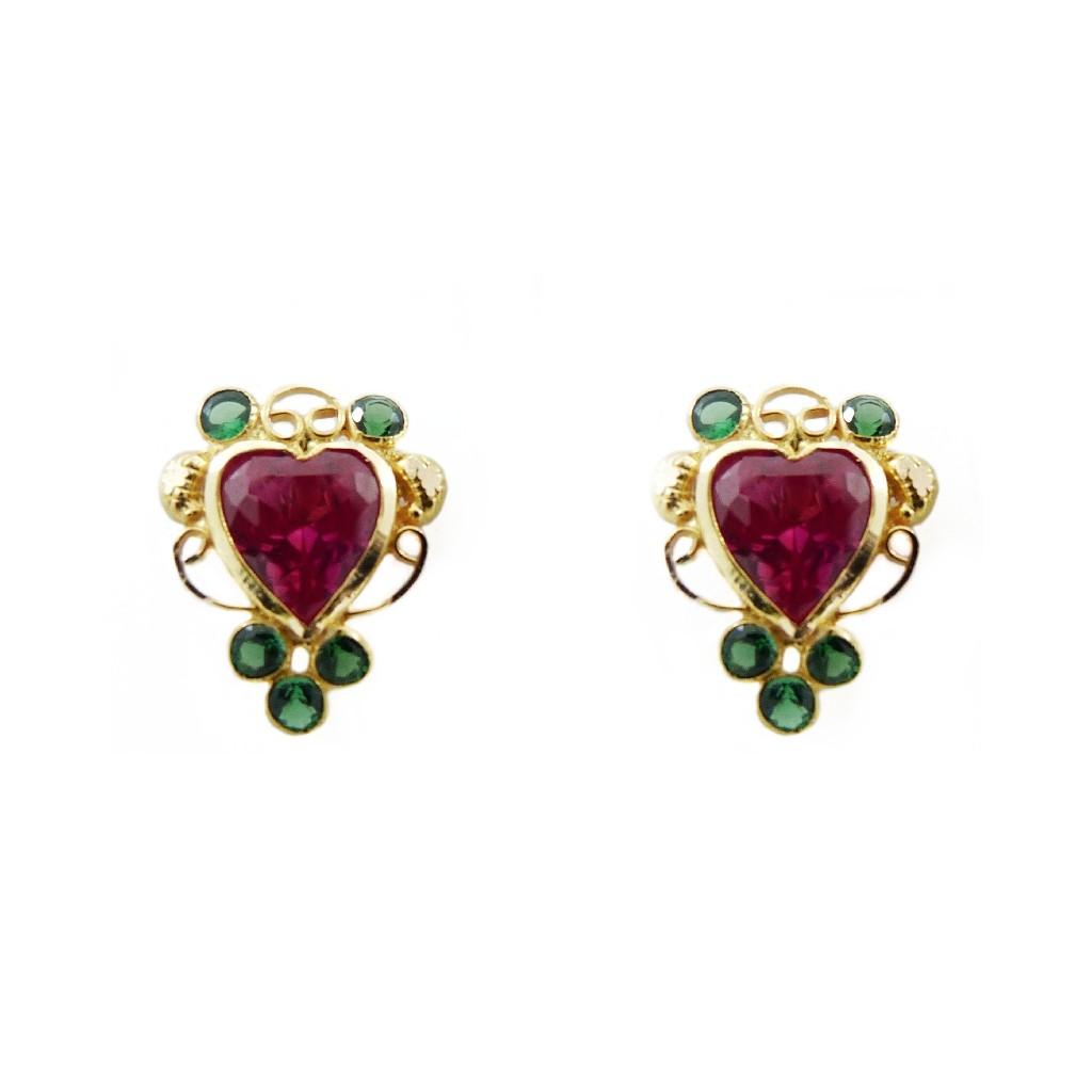 18K Gold Colour Stone Heart Tops
