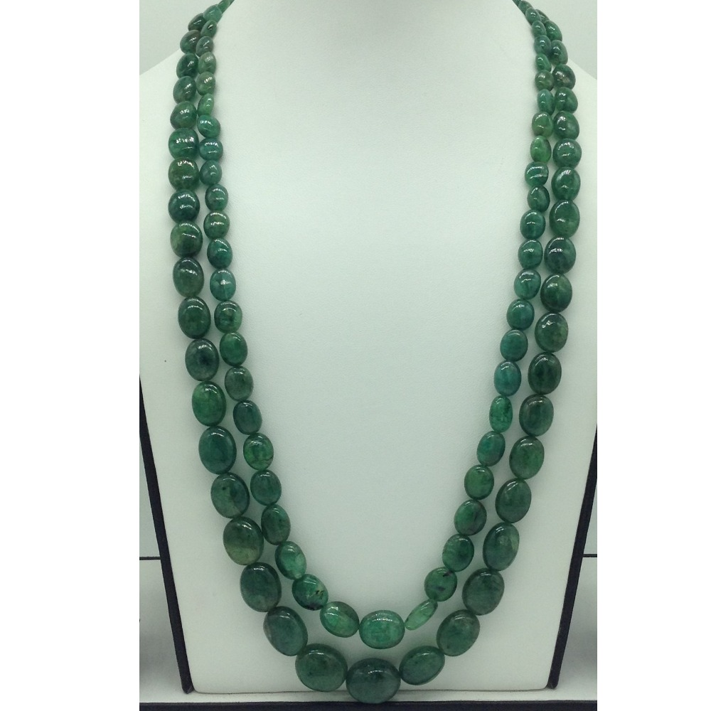 Natural Green Bariels Oval Aweja2Layers Necklace JSS0134