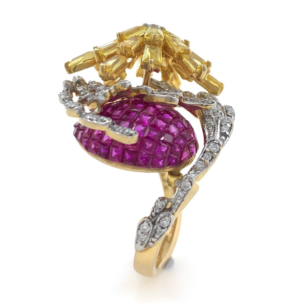 18kt / 750 yellow gold classy cocktail diamond & coloured stone ladies ring 5lr686