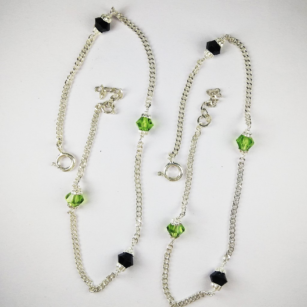 925 Silver Payal With Green Stones
