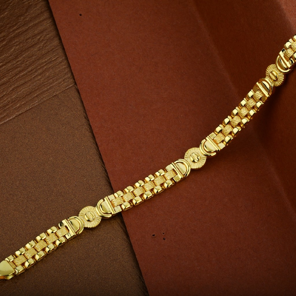 Mens 22K Gold Designer Plain Cz Cartier Bracelet-MCRB14