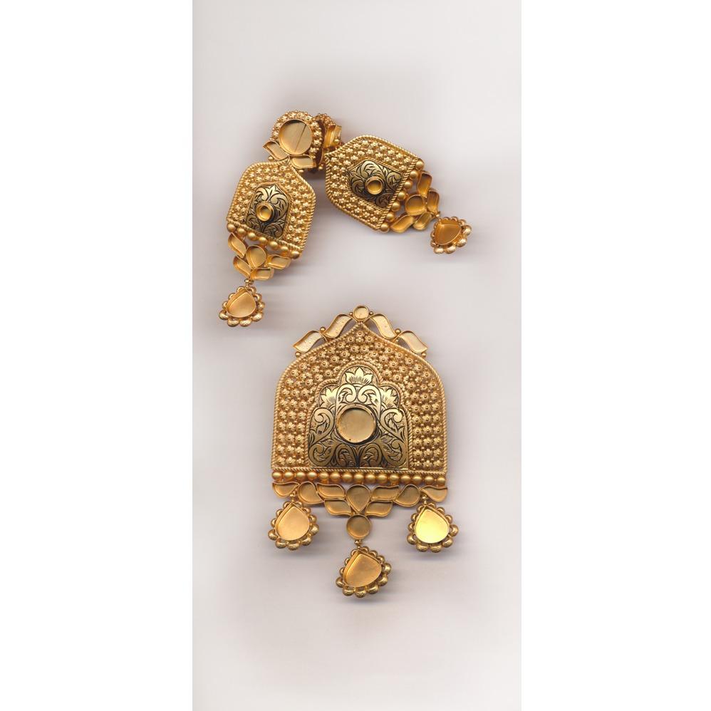 Antique Gold Pendant Set Khokha OM - N025