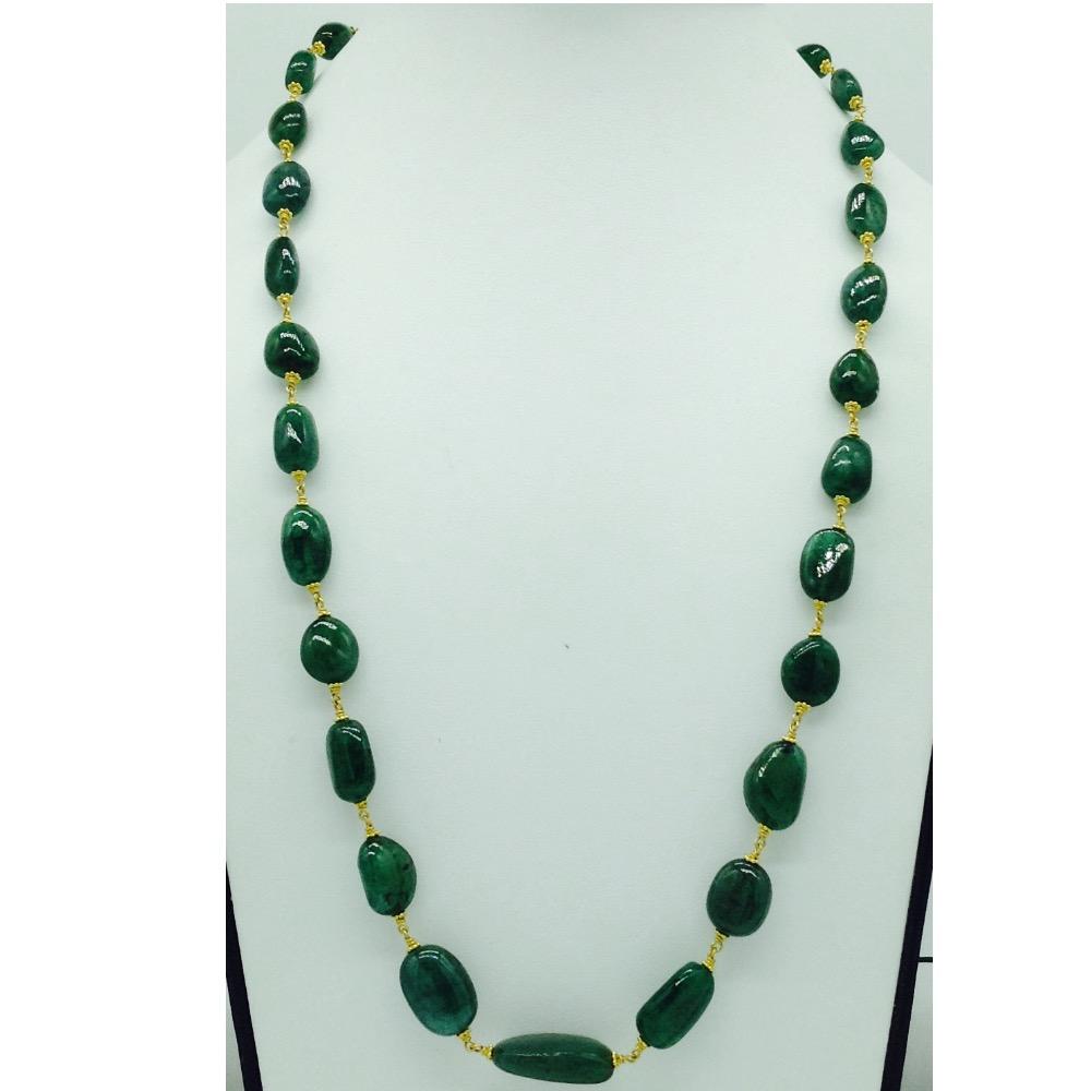 Green emerald oval tumbles gold taar necklace jgt0007