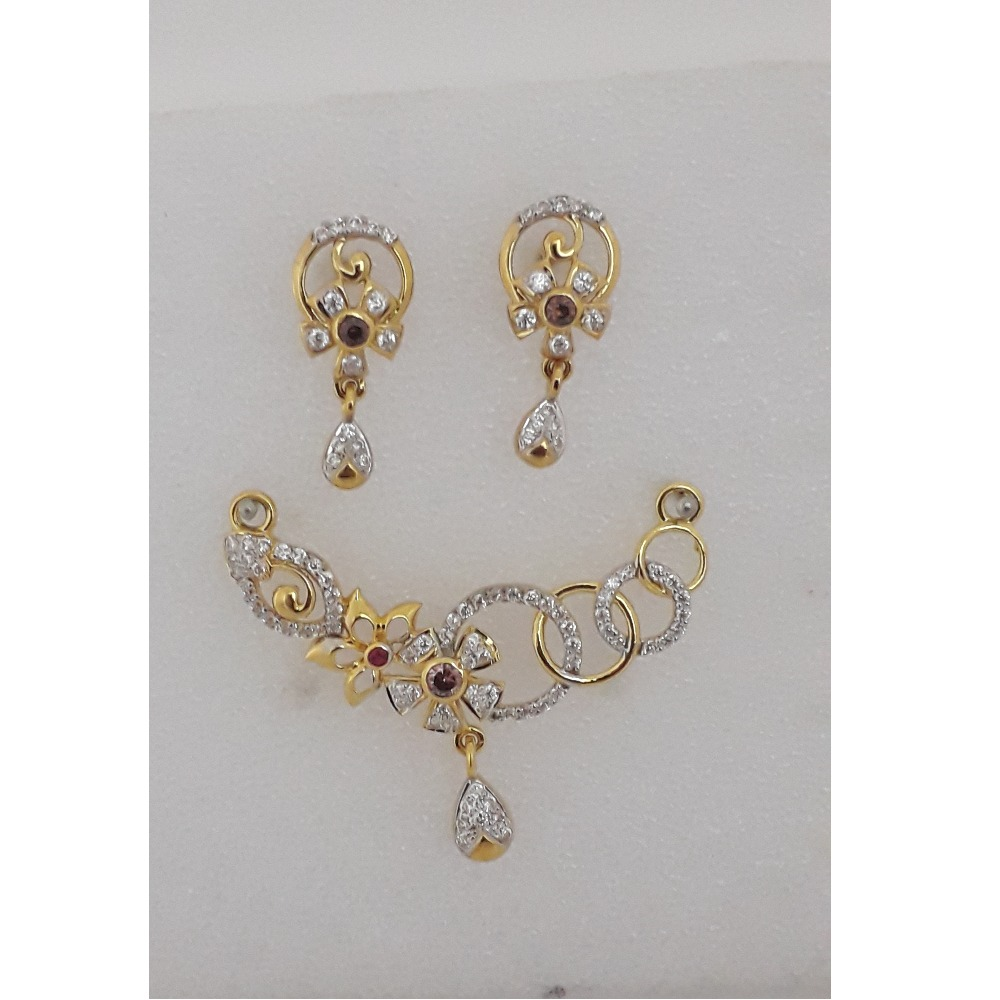 916 Gold CZ Flower Design Mangalsutra Pendant Set MJ-PS005