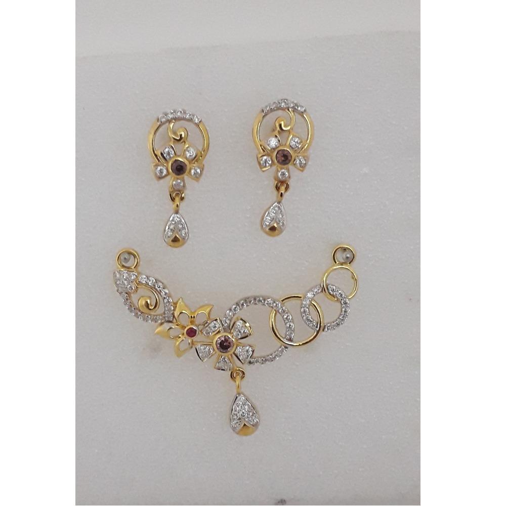 916 Gold CZ Flower Design Mangalsutra Pendant Set MJ-PS005